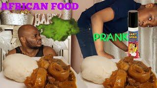FART SPRAY PRANK ON MY AFRICAN DAD WENT WRONG | OGBONO SOUP & FUFU | AFRICAN  NIGERIAN FOOD MUKB