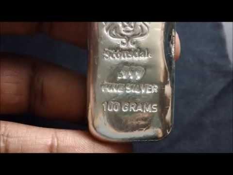 100 Gram Cast Silver Bar By Scottsdale Silver Youtube