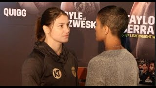 NO EMOTION! - KATIE TAYLOR v CINDY SERRANO - HEAD TO HEAD @ BOSTON PRESS CONFERENCE / TAYLOR-SERRANO