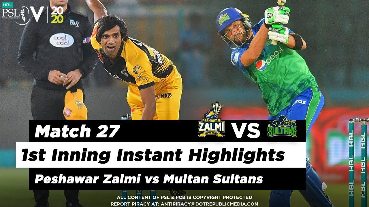 Peshawar Zalmi vs Multan Sultans | 1st Inning Highlights | Match 27 | 13 March | HBL PSL 2020
