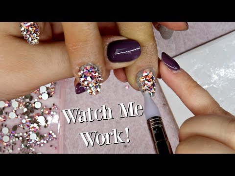Applying Over 200 Swarovski Crystals to Nails!