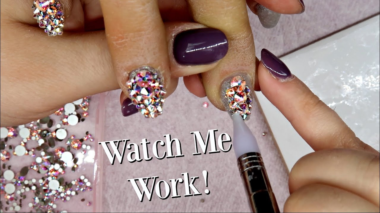 58a1f4421fbd Applying Over 200 Swarovski Crystals to Nails! - YouTube