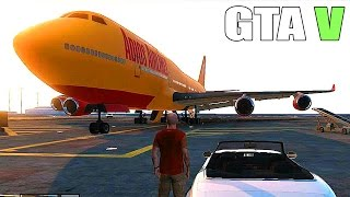 Repeat youtube video Grand Theft Auto V - Big plane, Military Base - Tanks and Fighter Jets [GTA 5 Gameplay]