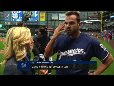 Brewers' Moustakas after walk-off hit to win NLDS Game 1