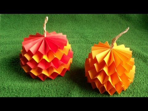 How to Make a 3D Easy Pumpkin out of Paper for Halloween, Fall, Thanksgiving Day Decorations