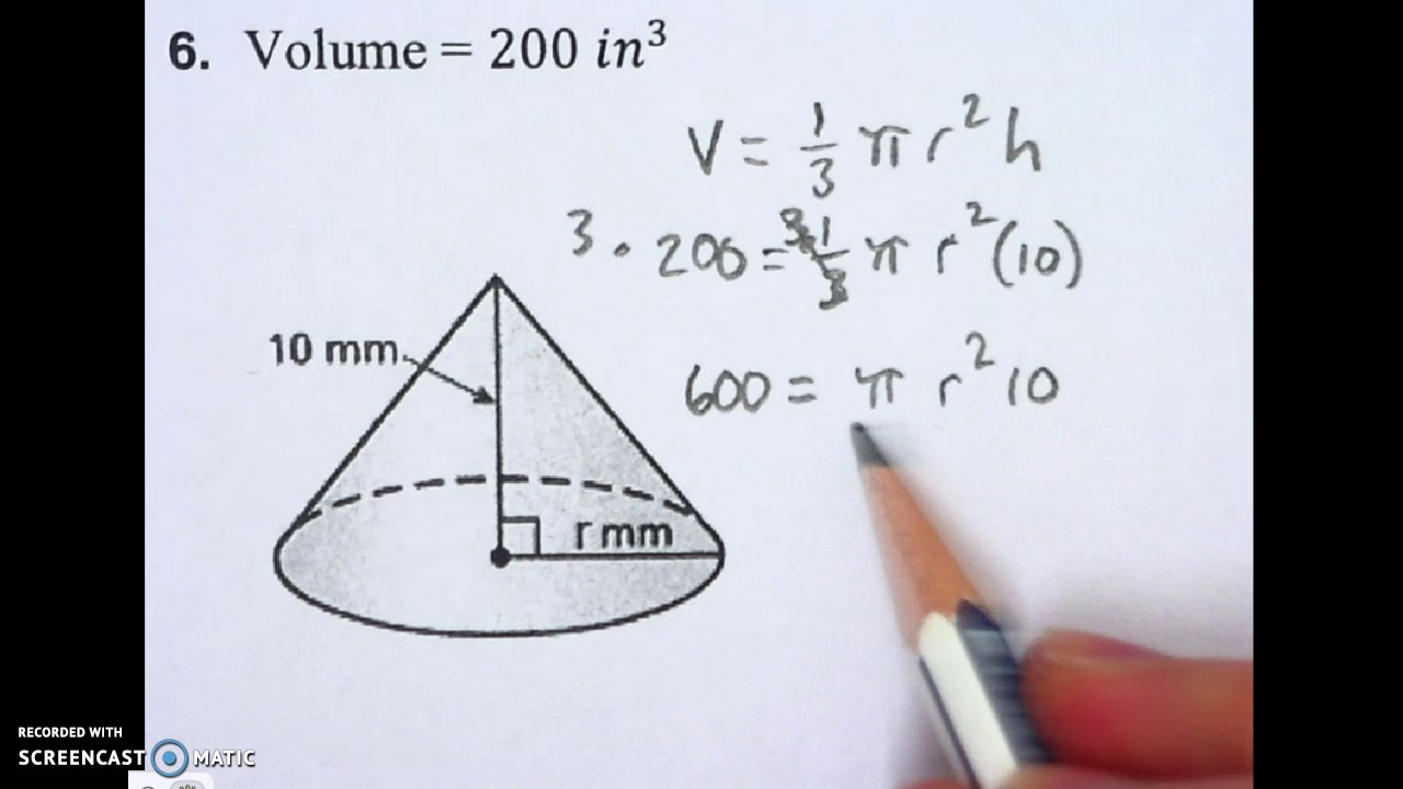 82 Finding The Radius Of A Cone Youtube