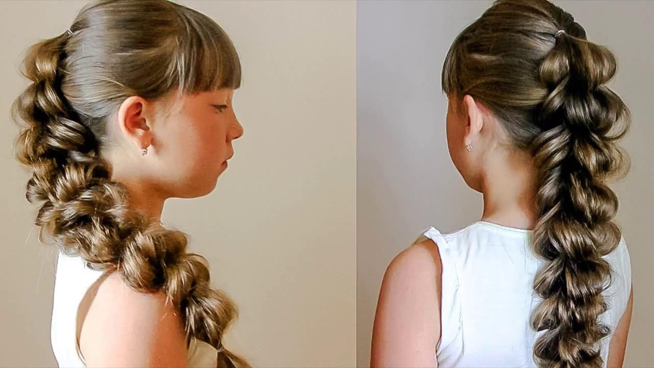 Объёмная коса на выпускной, без плетения  Красивая причёска на резиночках
