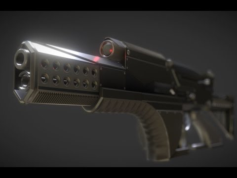 Futuristic Weapon Concept Time-Lapse-Video - Blender 2.7