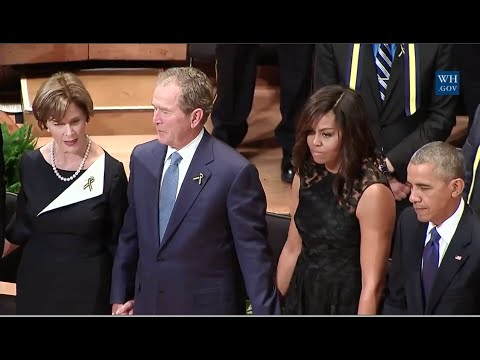 Bush, Obama Join Hands, Sing Glory Hallelujah At Dallas Police Memorial