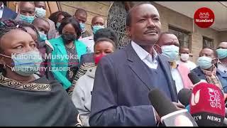 Wiper leader Kalonzo Musyoka & Mutula Kilonzo Jnr condole with the family of the late Kalembe Ndile