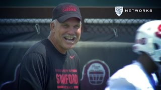 Stanford defensive backs coach Duane Akina uses some unique comment...