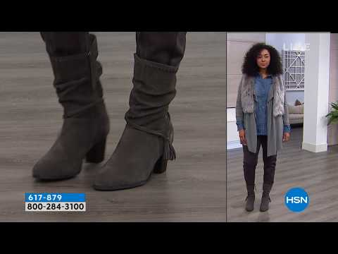 Minnetonka Maven Suede Slouch Boot | HSN. http://bit.ly/2Xc4EMY