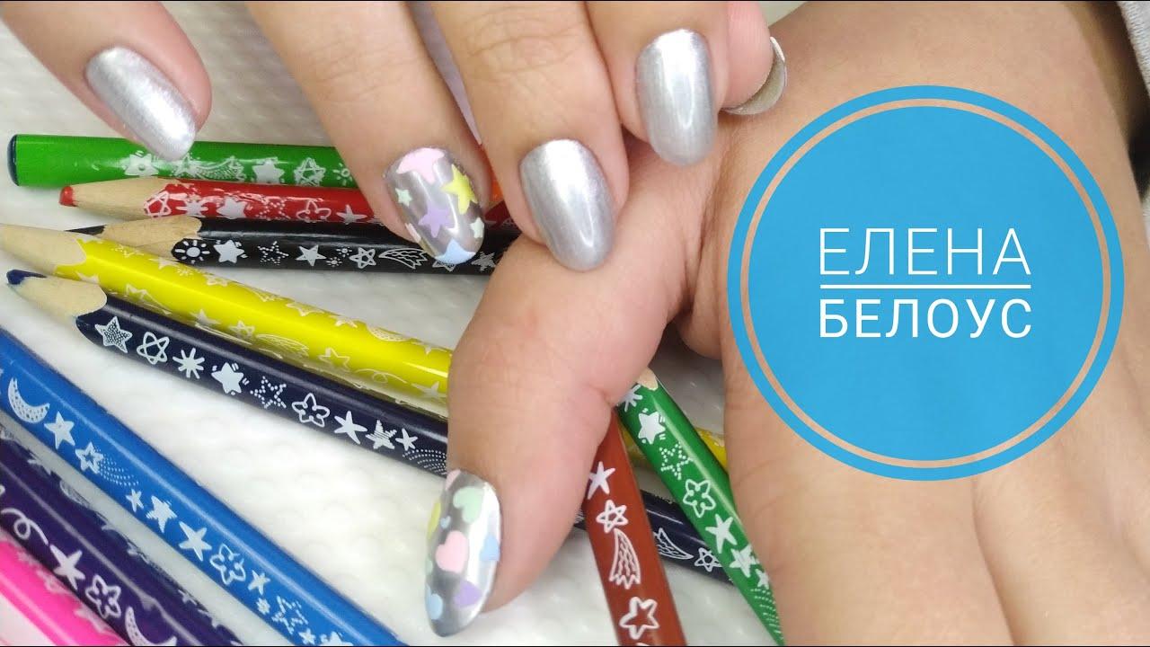 Маникюр в 11 лет ! Детский маникюр! Блестящие ногти! Простой дизайн.