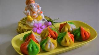 उकडीचे रंगीत मोदक | Multicolour Steamed Modak | How to make ukadiche modak | Modak