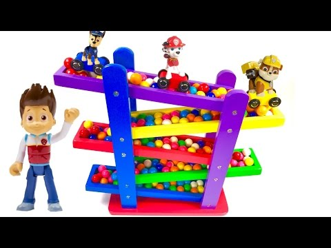 Thumbnail: Best Learning Colors Video for Children - Paw Patrol Cars and Gumball Race Down Ramps!