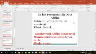 "Swahili - Nederlands   Thema ""In het restaurant"" - Les 03"