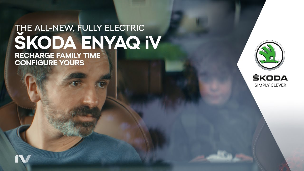 The all-new, fully electric ŠKODA ENYAQ iV: Recharge family time.