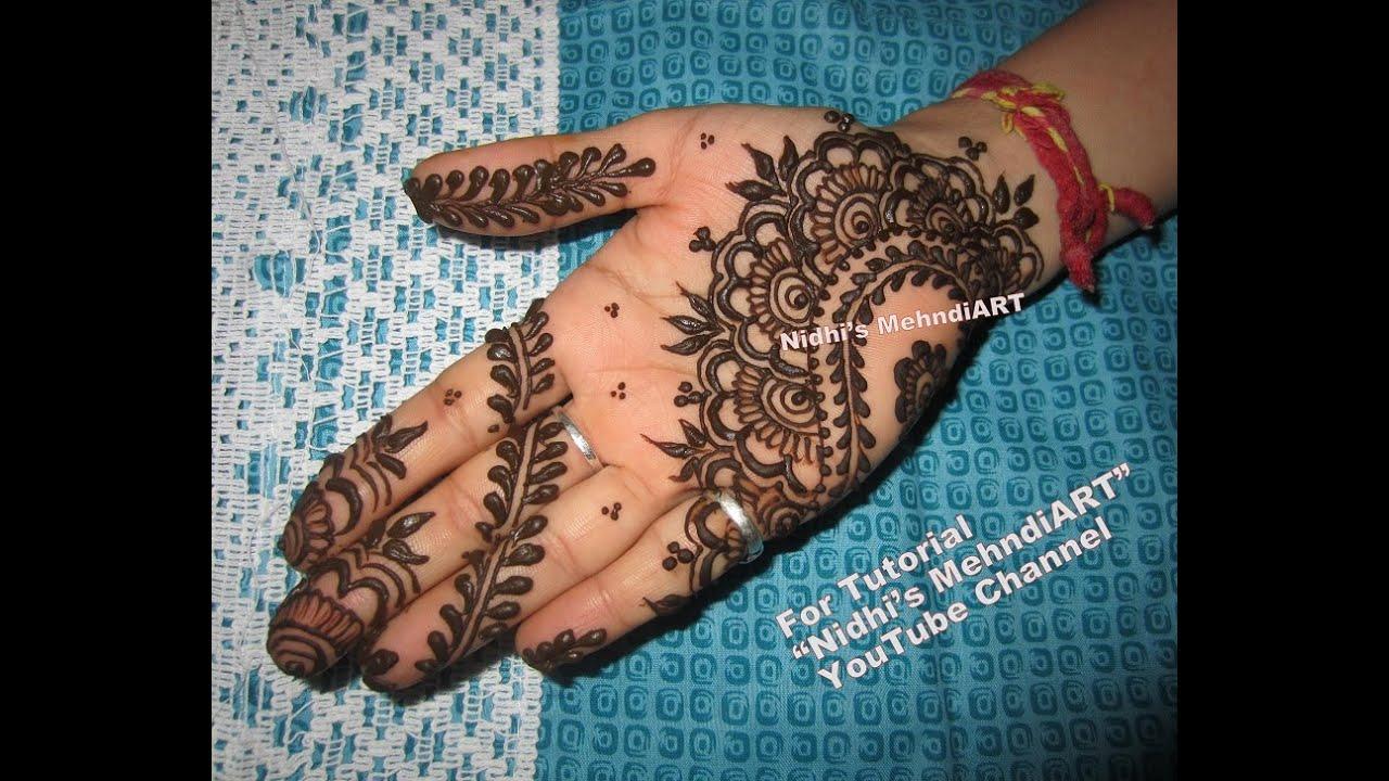 Traditional Simple Arabic Front Hand Henna Mehndi Design Tutorial ...