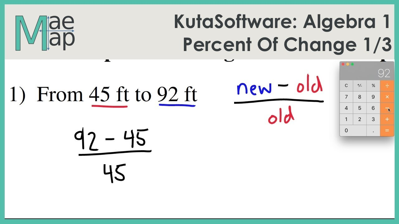 KutaSoftware: Algebra 1 - Percent of Change Part 1