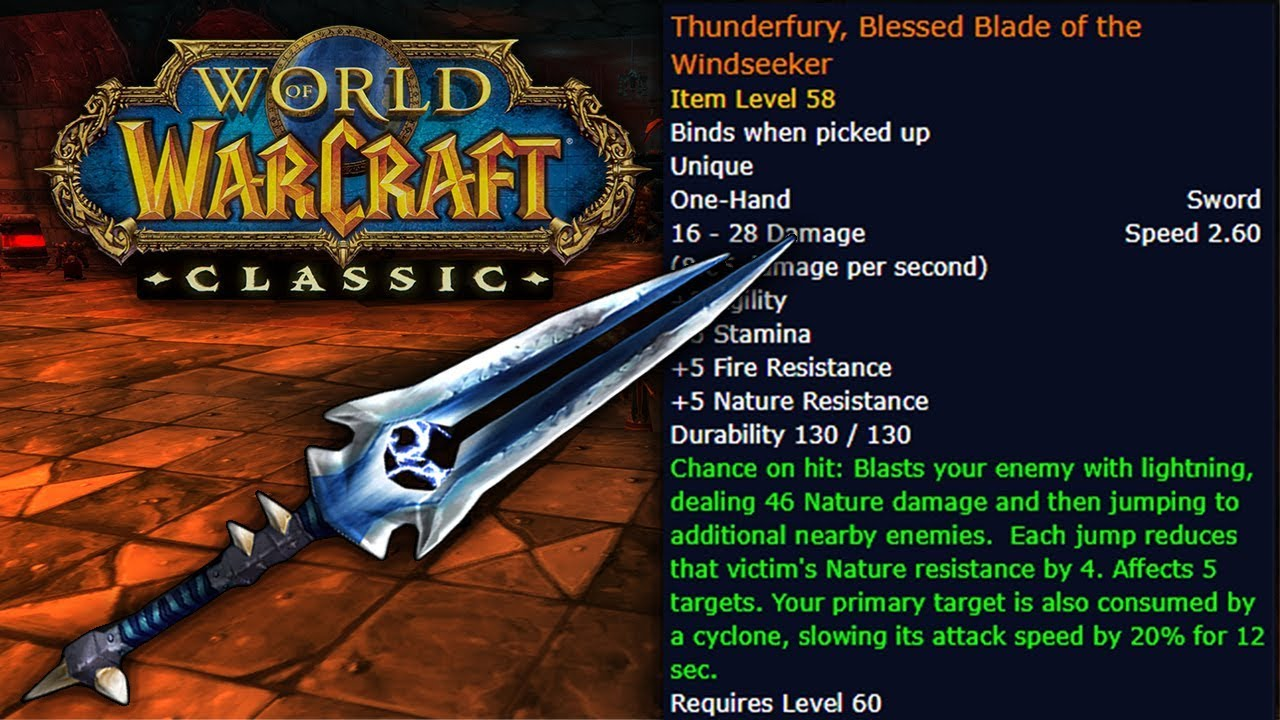Thunderfury Gold, Level 30-60 Accounts, Boosts - WoW Clasic
