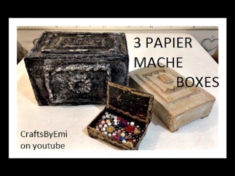 DIY, 3 PAPIER MACHE BOXES, decorative box, treasure box, jewelry box,