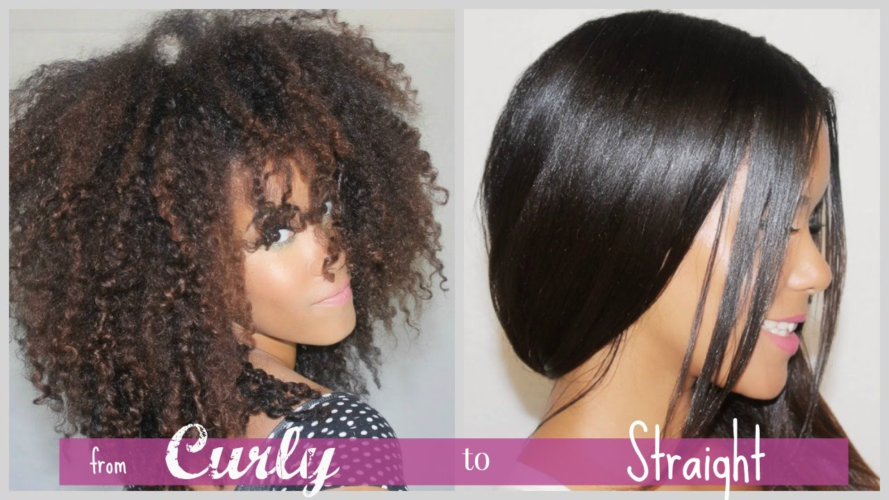 Pics For Gt Natural Hair Straightened Before And After