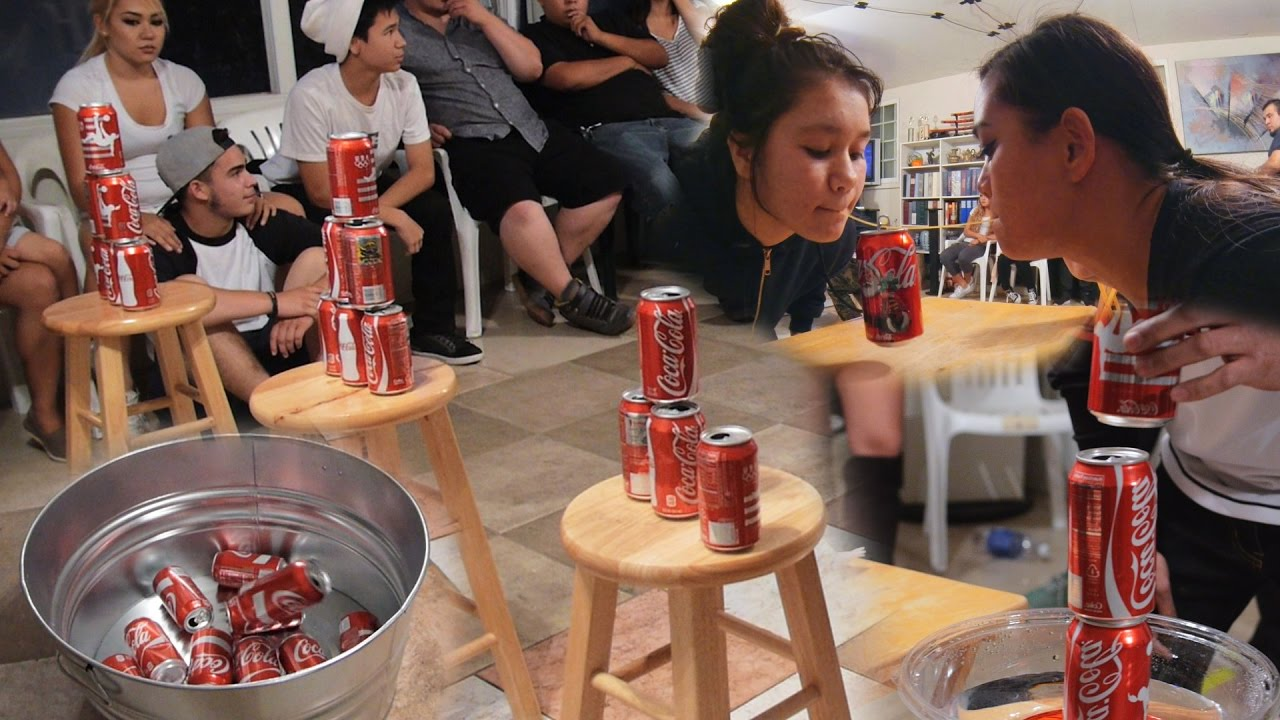 5 Fun Party Games With Soda Cans Diy Minute To Win It