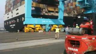Fallen container on ship
