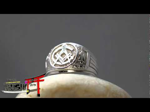 925 Sterling Silver Antique Masonic Ring Master Freemason Square and Compass