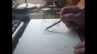 Kitten drawing with pencil — Рисунок котенка в карандаше