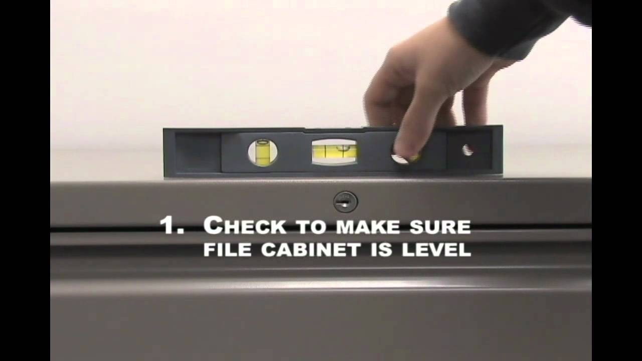 How to level a lateral file cabinet - YouTube