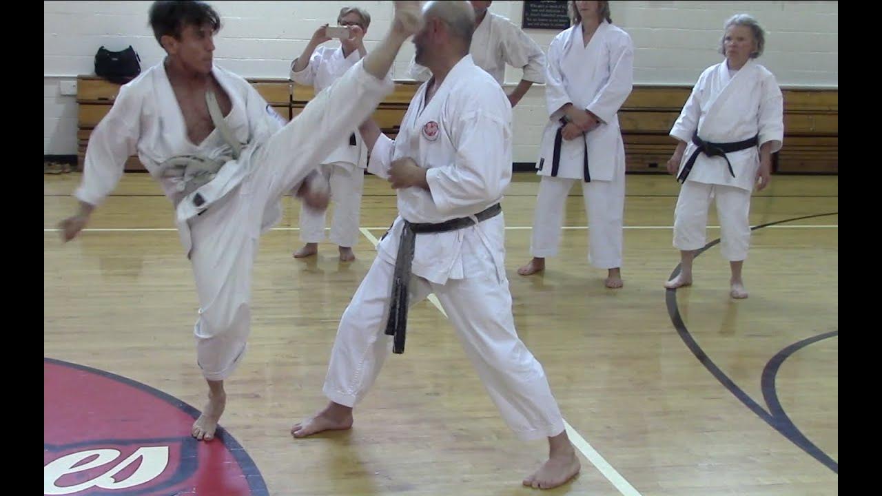 Hotton sensei, rotating around the center for kicking