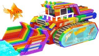 DIY - Build Colorful Bulldozer Fish Tank Aquarium From Magnetic Balls (Satisfying) - Magnet Balls