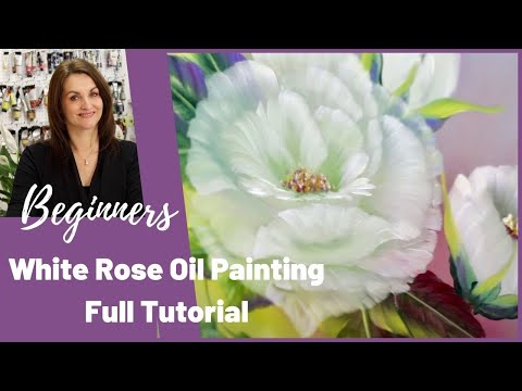 White Rose Oil painting tutorial for Beginners - Full Step by Step Tutorial - Paint with Maz