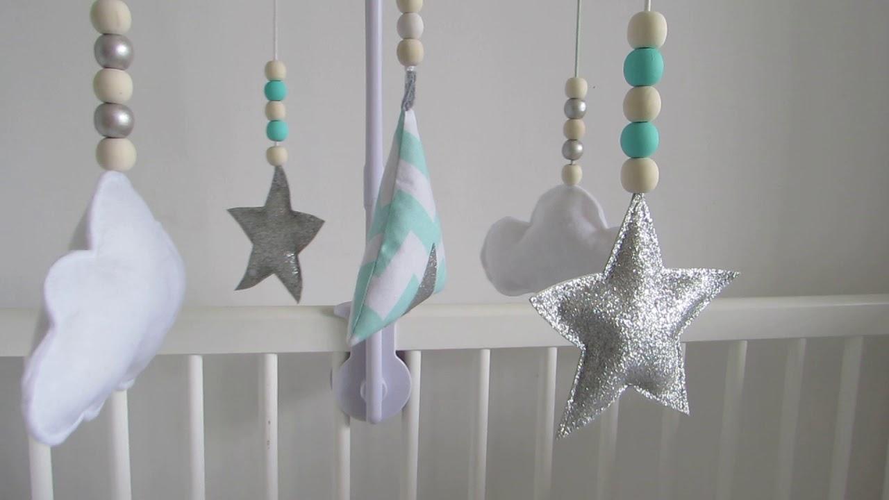 mobile tipi nuage étoile bleu mint blanc argent mini canaille