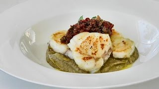 Italian Food Recipes. Monkfish with Cream of Eggplant and Tapenade
