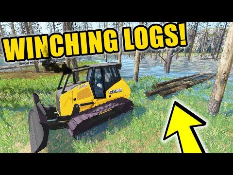 FARMING SIMULATOR 2017 | WINCHING 100 YEAR OLD LOGS OUT OF THE SWAMP.....WITH NEW DOZER