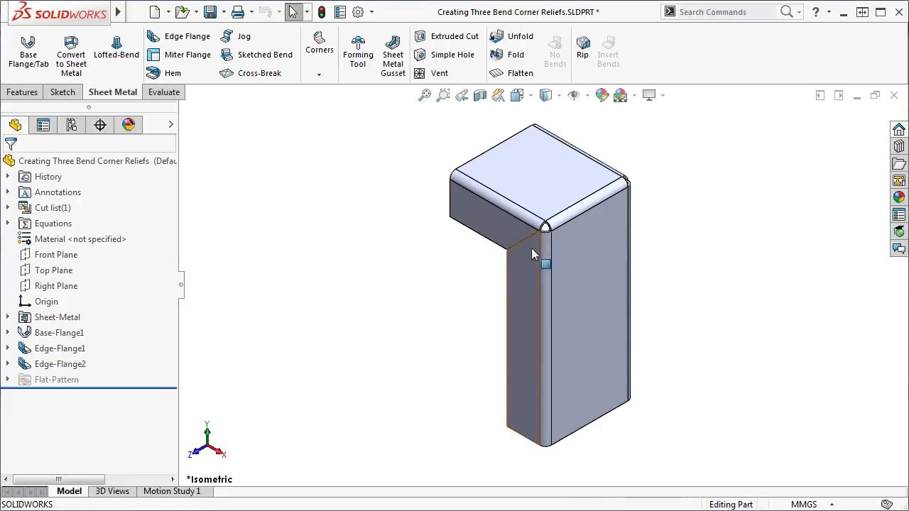 Creating Three Bend Corner Reliefs Solidworks 2017 Youtube