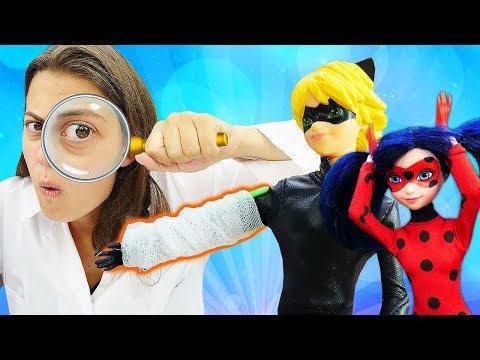 Видео про игрушки: Куклы Леди Баг и Супер Кот гуляют в лесу! Игры в больницу