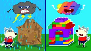 Baby Wolf Builds Colorful Lego Playhouse - LEGO Friendship House | Wolfoo Channel