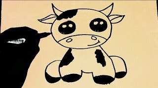 ART LESSON 27: HOW TO DRAW CARTOON Cow STEP BY STEP - FOR BEGINNERS