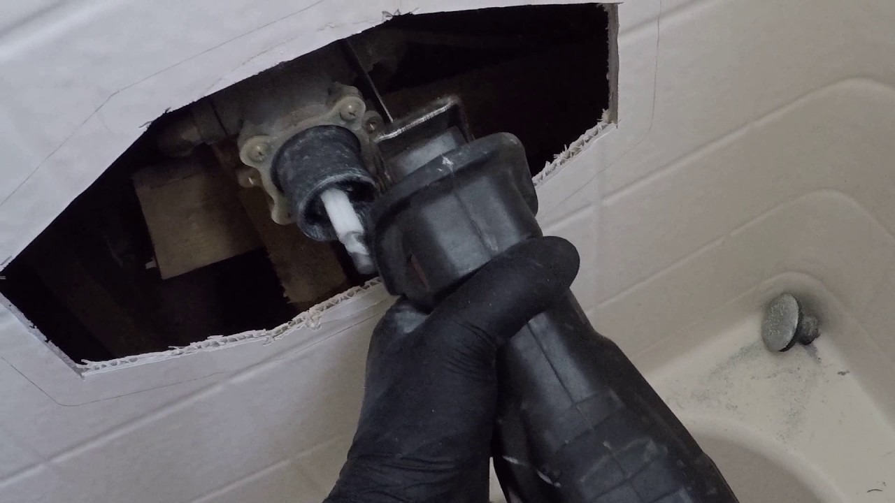 REPLACING A SHOWER VALVE THROUGH FIBERGLASS - GILBERT, AZ - YouTube