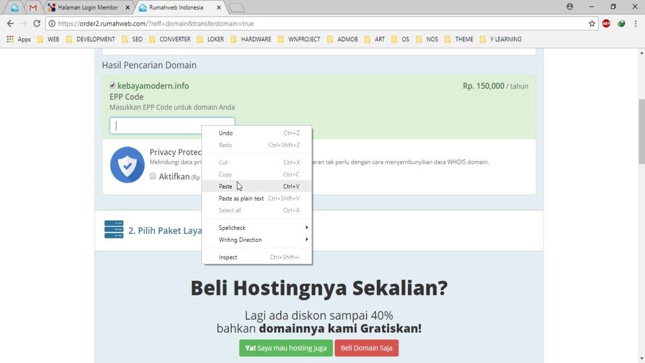 Cara Transfer Domain Ke Rumahweb - YouTube