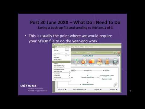Adrians Accountants - Year End Tasks Required in MYOB