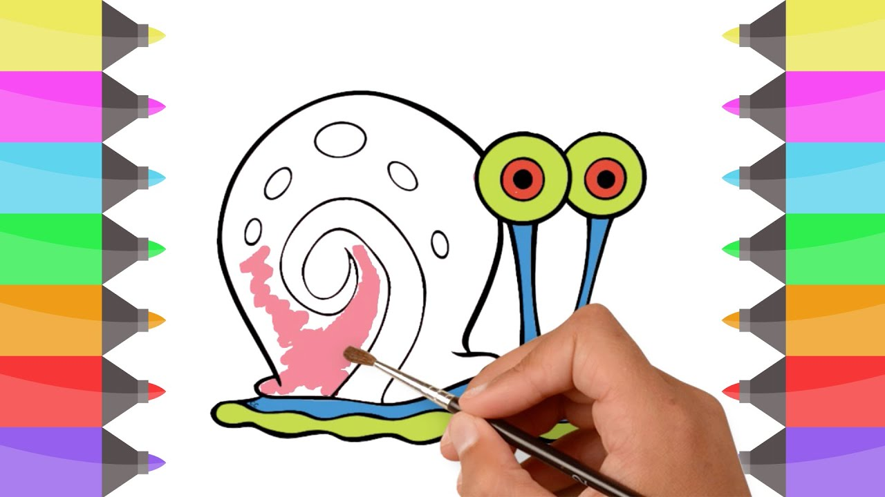 how to draw spongebob gary the snail colouring book for kids learn colors with colored markers youtube how to draw spongebob gary the snail colouring book for kids learn colors with colored markers