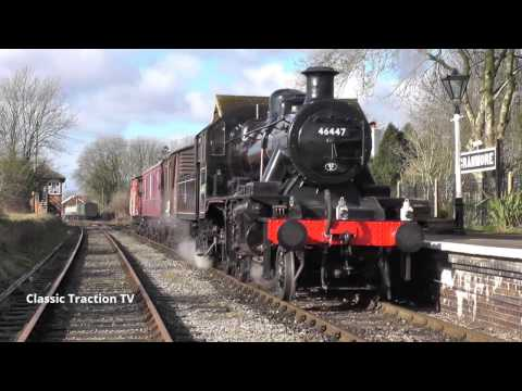LMS IVATT 2MT 2-6-0 46447 WITH A MIXED FREIGHT ON THE EAST SOMERSET RAILWAY - 1st March 2015
