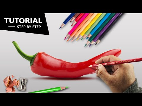 Draw Chilli Pepper With Pencil Colors | Tutorial For BEGINNERS