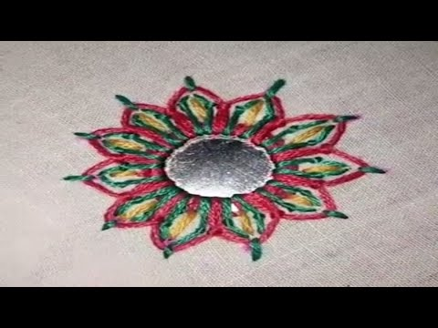 Hand embroidery Mirror Stitch (Shisha work)by Easy Learning By ATIB