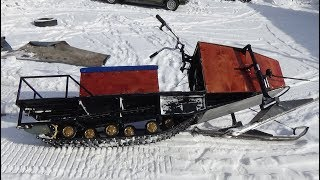 Прокакатились на разведку на самодельном снегоходе 01.