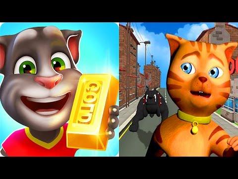 Talking Tom Gold Run VS Cat Subway Run / Cartoon Games Kids TV